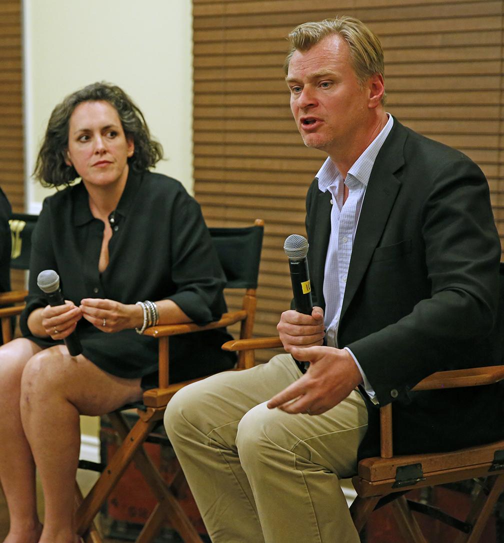 Producer Emma Thomas and writer-director Christopher Nolan.