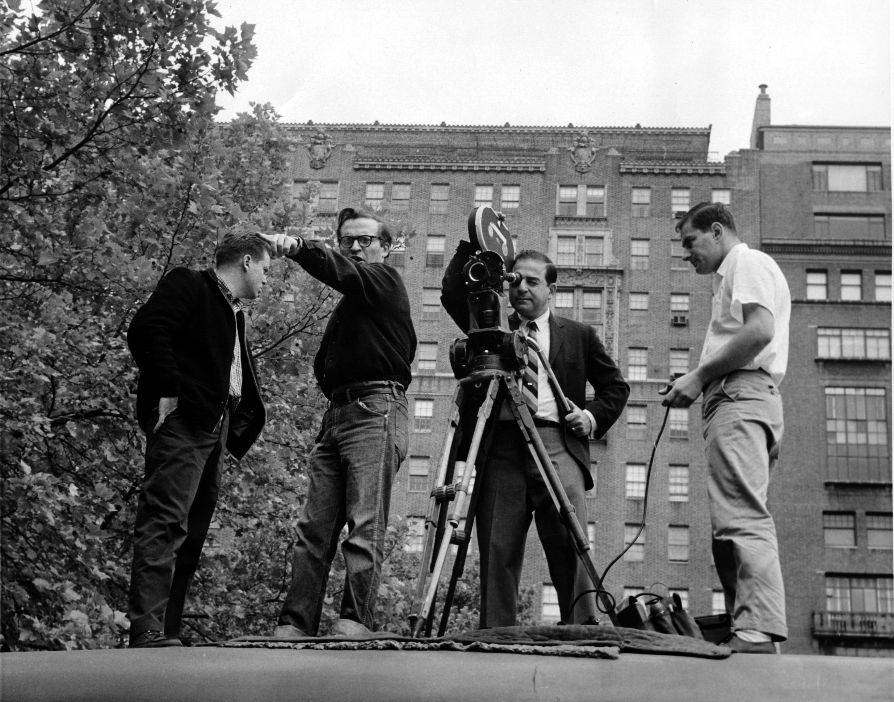 Director Sidney Lumet makes a point while Hirschfeld checks his frame during the filming the Cold War drama Fail Safe (1964). At right is 1st AC Owen Roizman.