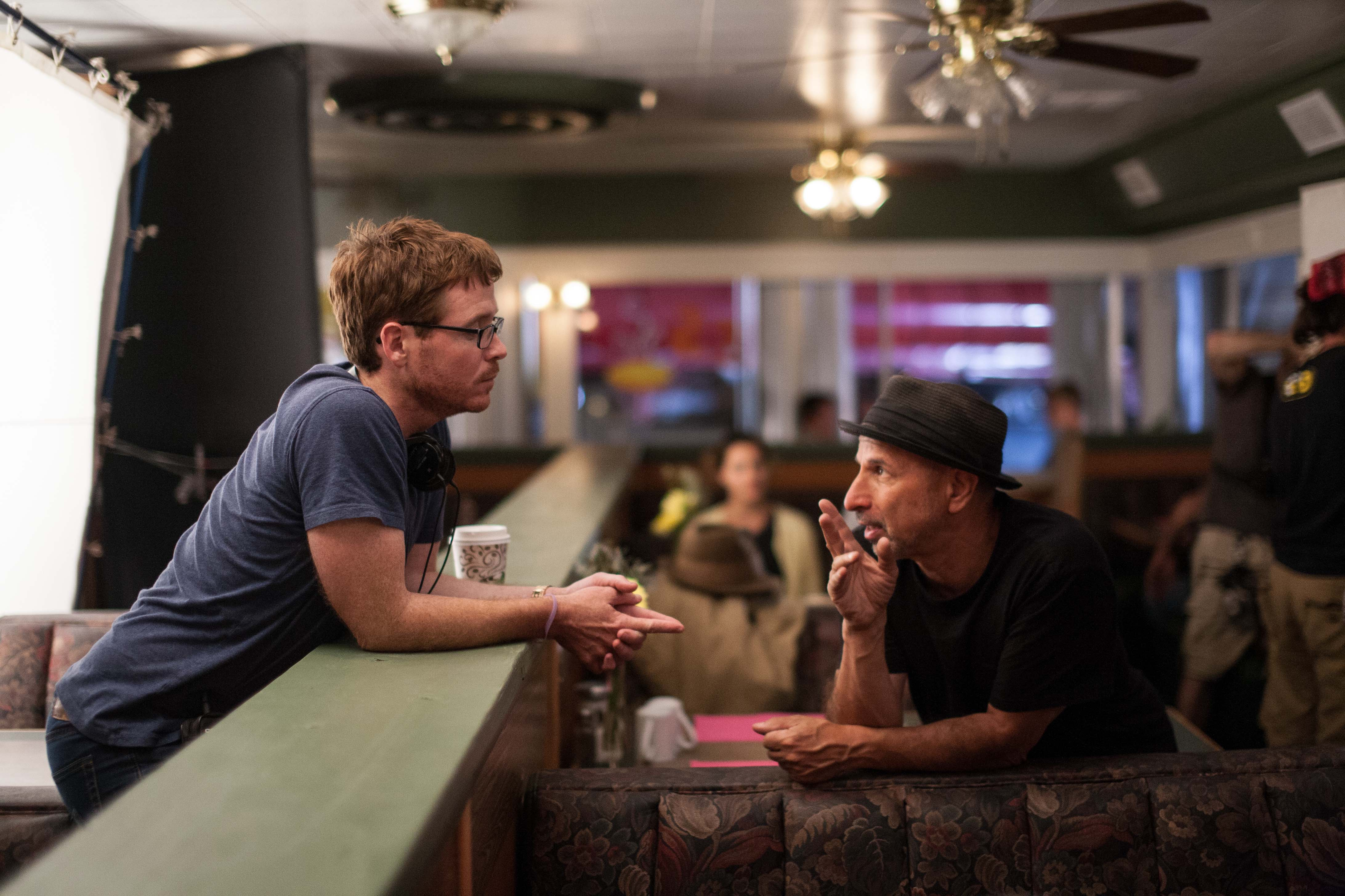 Steve (right) with director Kevin Connolly on the set of DEAR ELEANOR.
