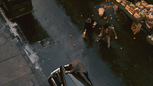 Godfather -high shot of Vito assassination attempt with oranges -thefilmbook-