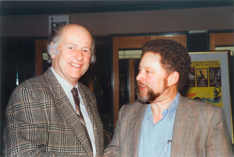 Taylor and Harryhausen chat at an Academy event in this undated photo.