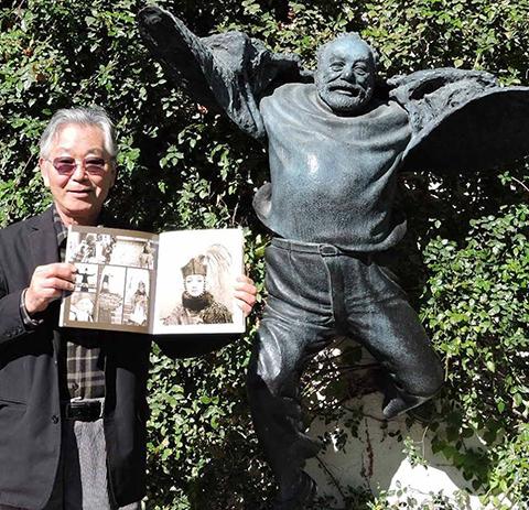 Narita with Parajanov's statue and Sofiko Chiaureli's book.