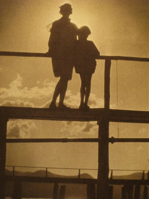 Ethel and Barbara on the Pier, Lake Tahoe, 1930.