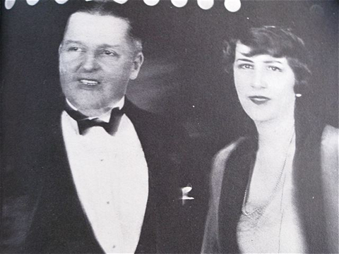 """Bitzer and Ethel at premiere of """"Lady of the Pavements,"""" 1929."""