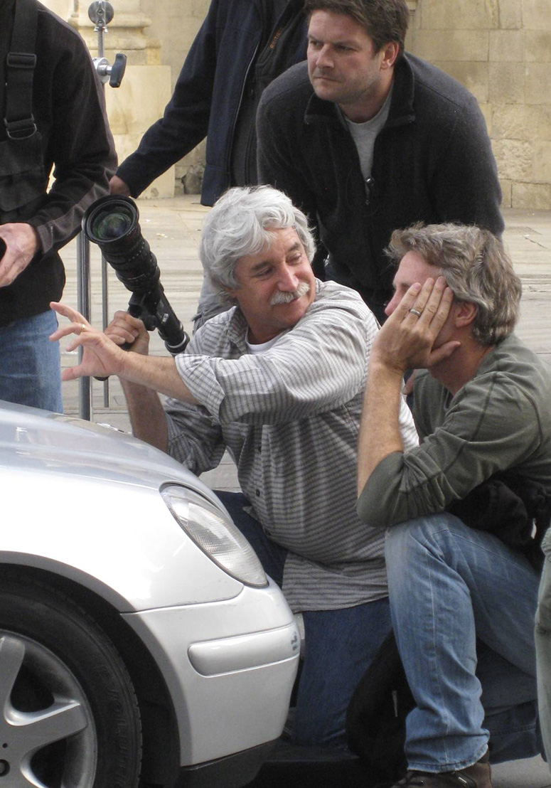 Bleibtreu works on a sequence for Knight & Day in Spain with 2nd-unit director Brian Smrz (right) and key grip Alex Klabukov.