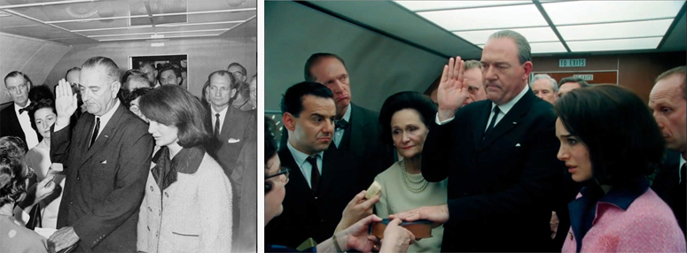LBJ swearing in - 1963 photo and frame from Jackie (from featurette)