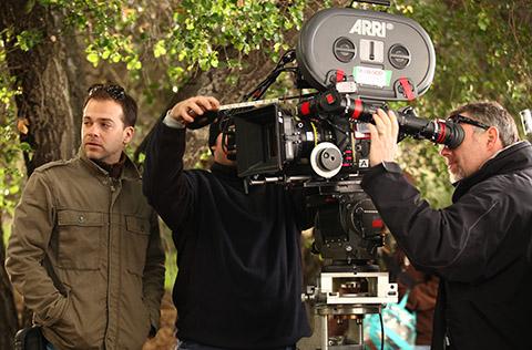 Jensen (left) at work on an episode of True Blood. (Credit: HBO)