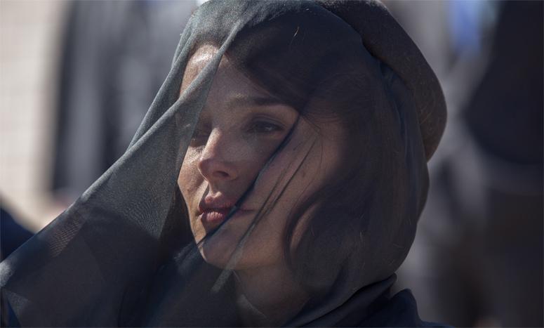 Natalie Portman during the funeral scene on set of Jackie