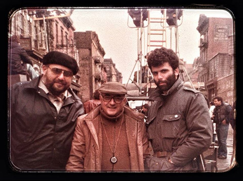 Young camera operator Crescenzo Notarile (right) poses with his father (left) and Tonino Delli Colli, AIC, on the set of Once Upon a Time in America.