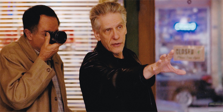 Peter Suschitzky and David Cronenberg on the set of A History of Violence