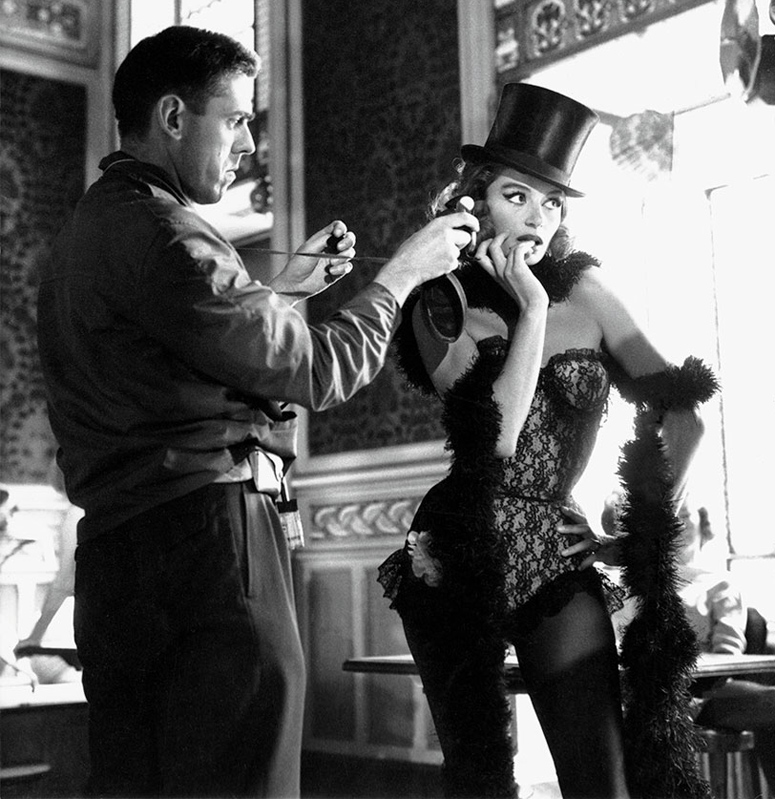 Raoul Coutard and Anouk Aimé on set of Lola in 1961