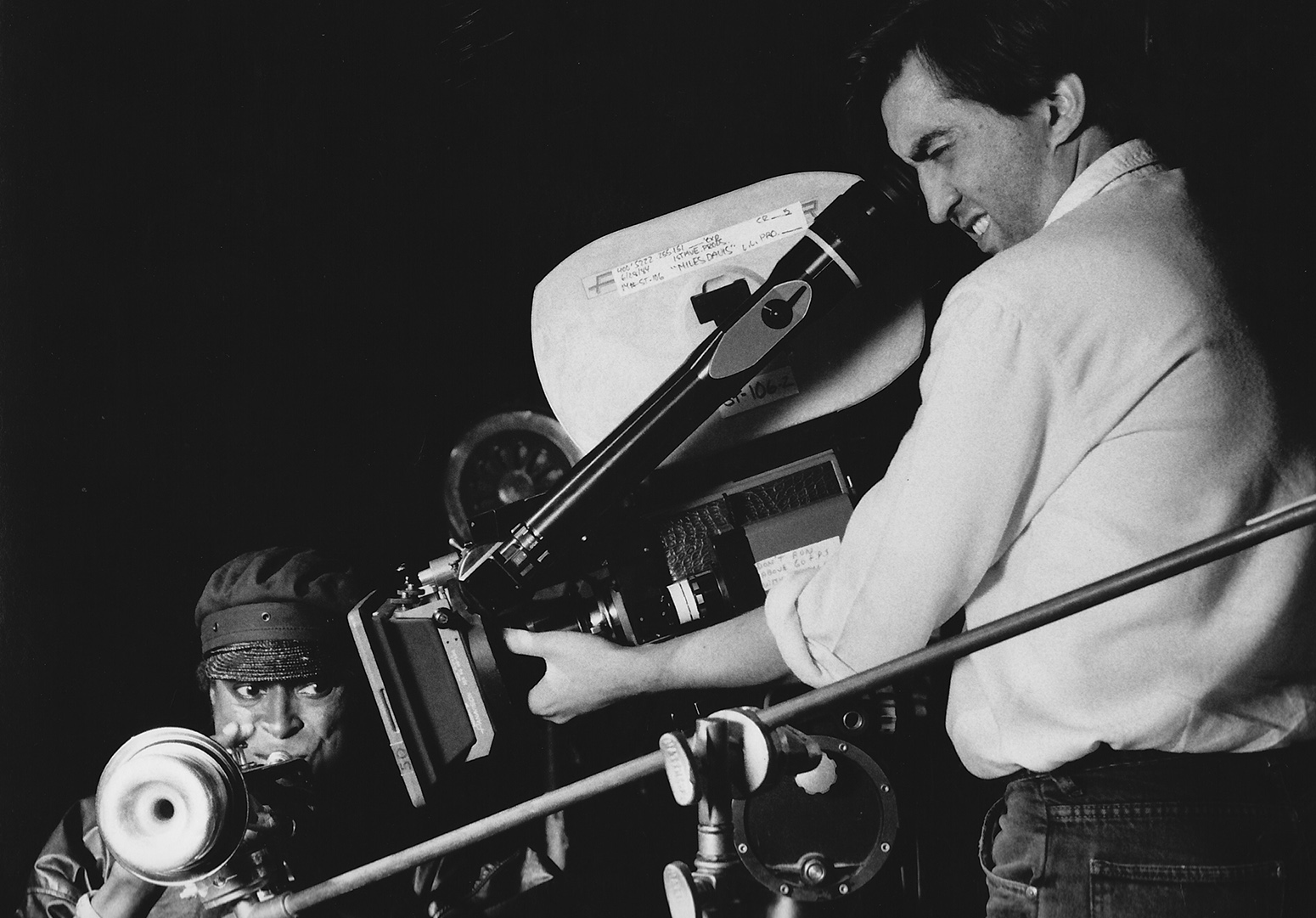 Fortunato at work on a Miles Davis video in 1984.