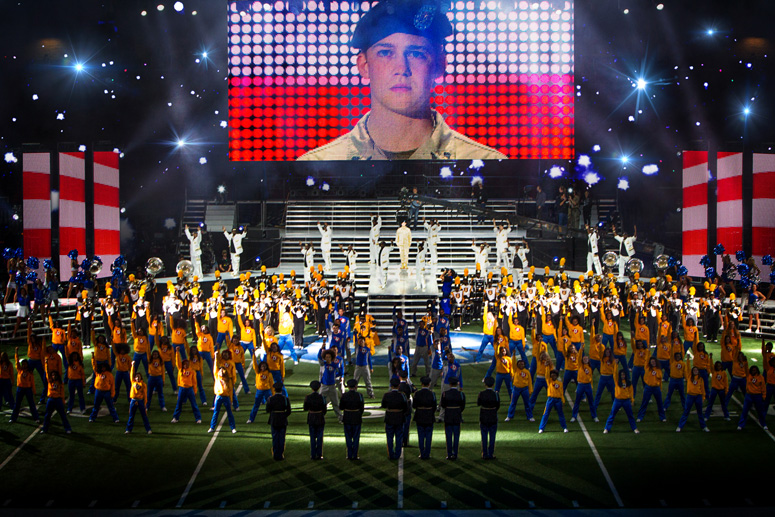 Billy Lynn (Joe Alwyn), dancers, and Alabama State Marching Hornets in TriStar Pictures'  Billy Lynn's Long Halftime Walk.