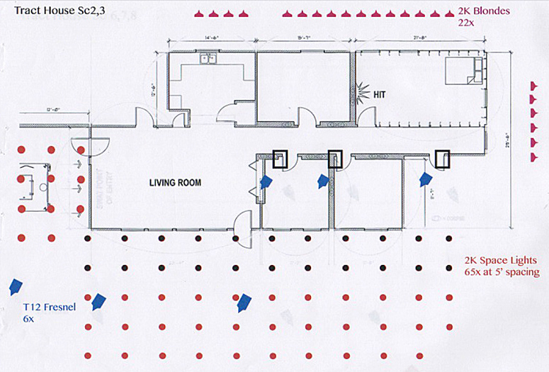 Roger's rough lighting diagram for the set of the Raid. The truck enters at the left, the shot is fired in the room at the right.