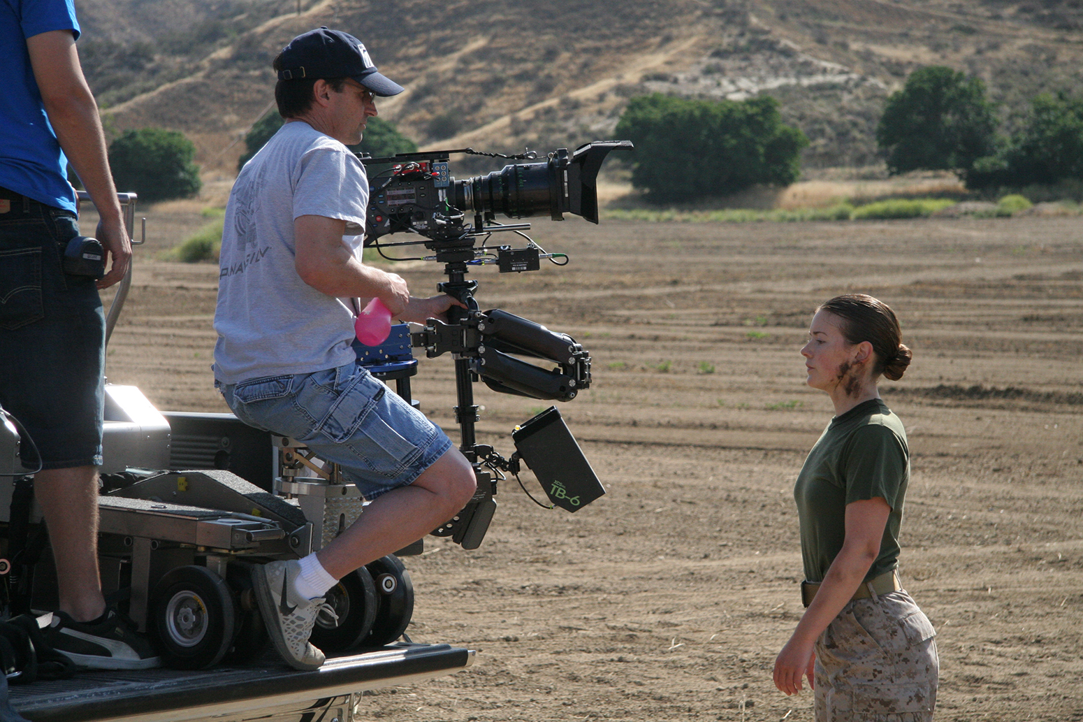 Cinematographer Billy Webb, ASC, works with actress Molly Kunz on Silent War.