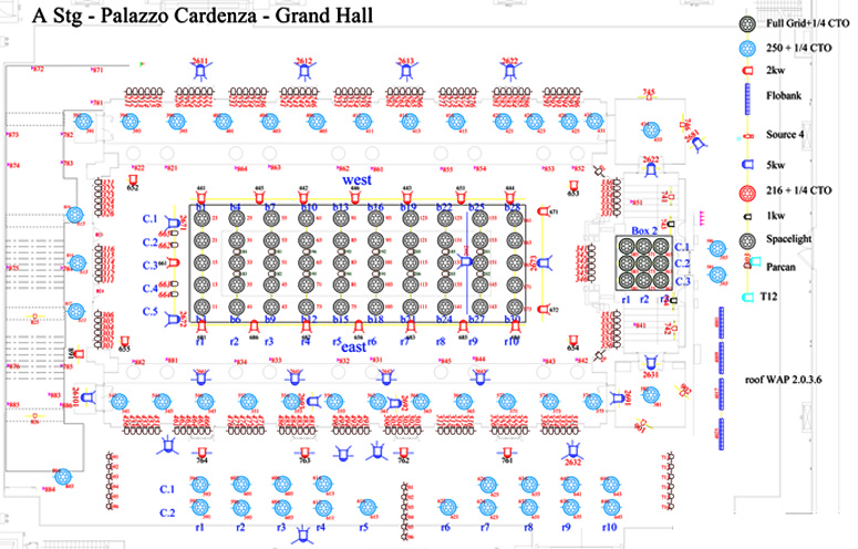 Lighting diagram for the meeting in the Grand Hall