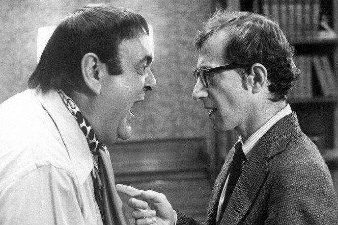 Zero Mostel and Woody Allen in The Front (1976), featuring cinematography by Michael Chapman, ASC.