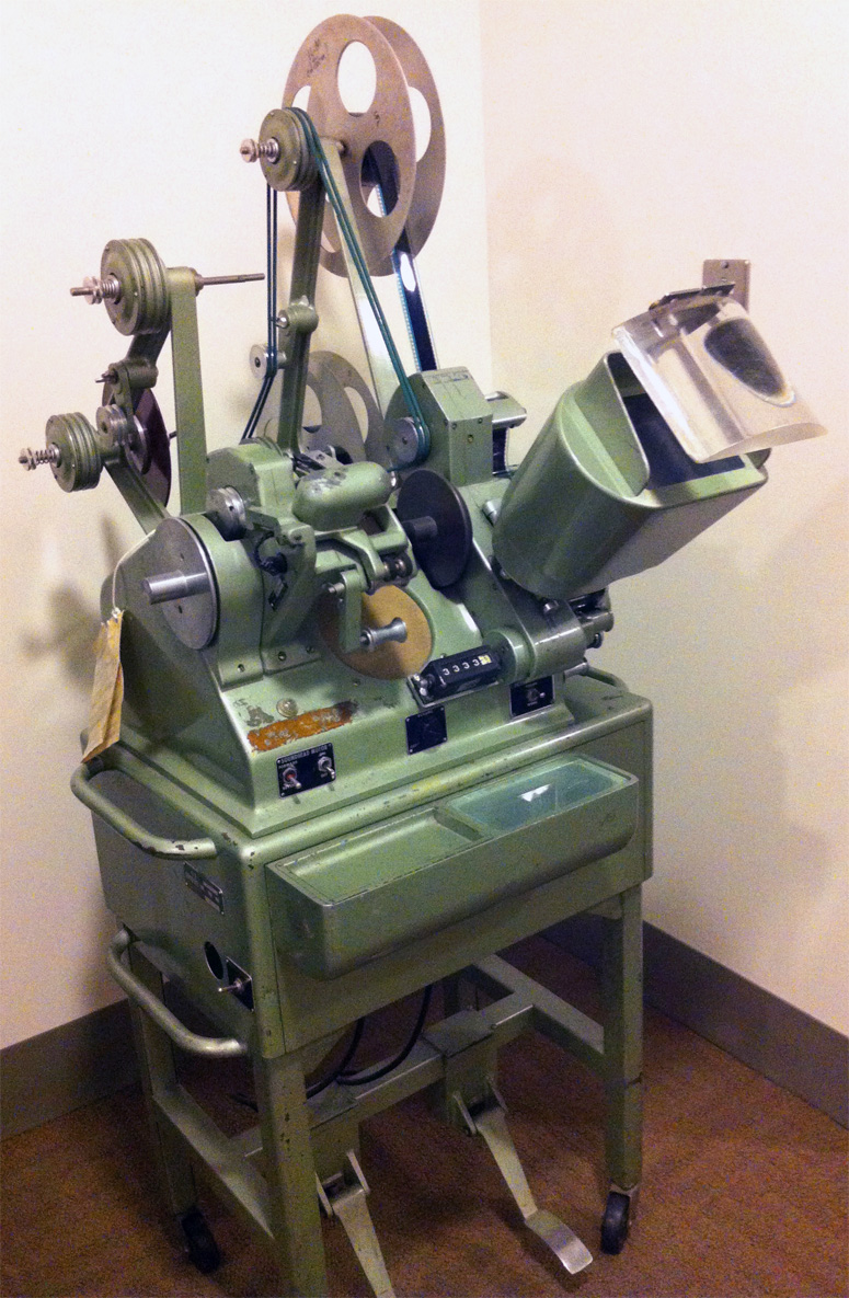 Upright Moviola film editing machine