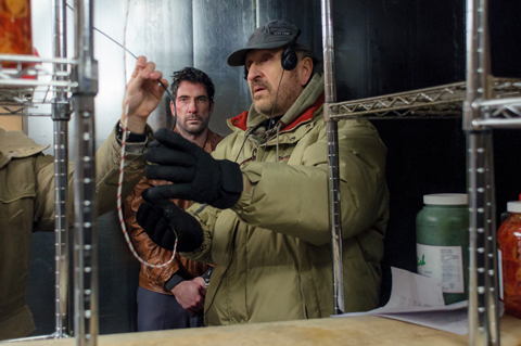 Mikael (right) with Dylan McDermott on the set of FREEZER. They shot in temperatures as low as -40°.