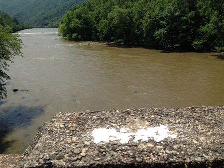 Blaze on the WPA bridge across the French Broad River, Hot Springs, N.C.