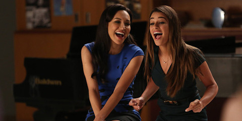 Naya Rivera (left) and Lea Michele in a scene from Glee. (Credit: Tyler Golden/Fox)