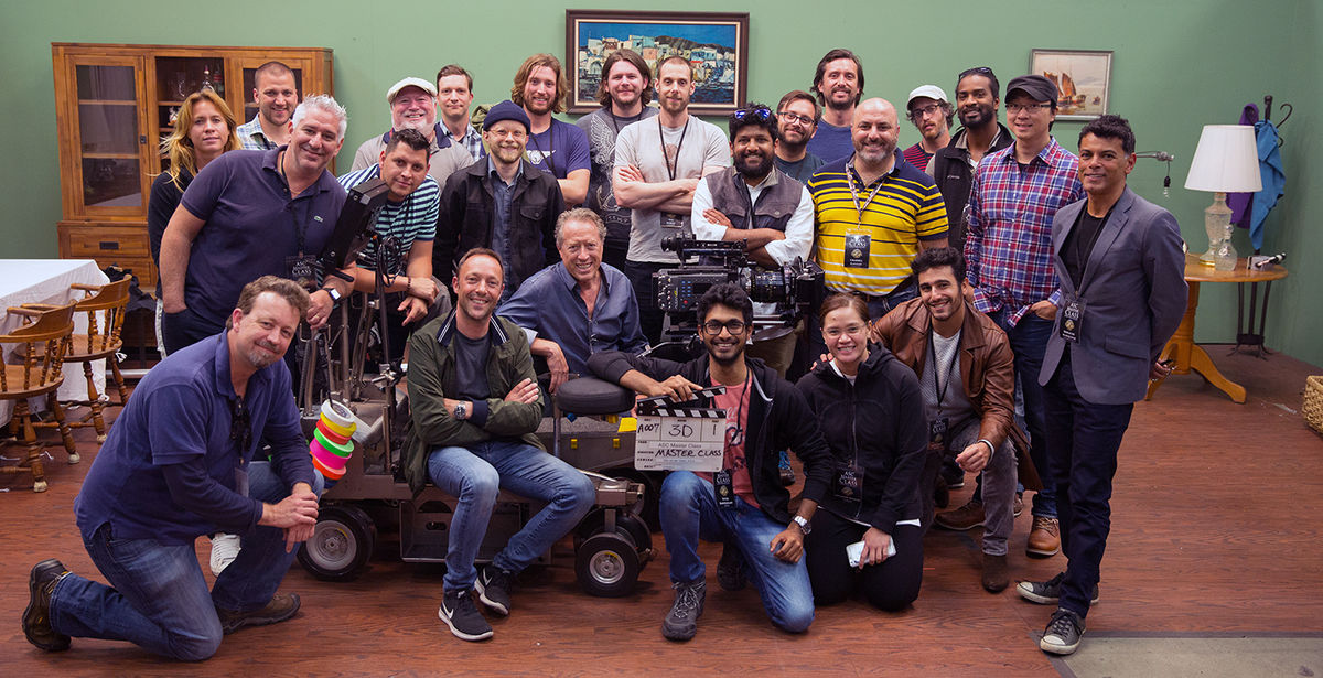 Stijn van der Veken, ASC (seated on dolly) and the assembled class at Mole Stage.