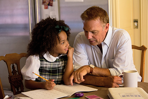 Jillian Estell and Kevin Costner in a scene from Black or White. (Credit: Tracey Bennett/Relativity Media)