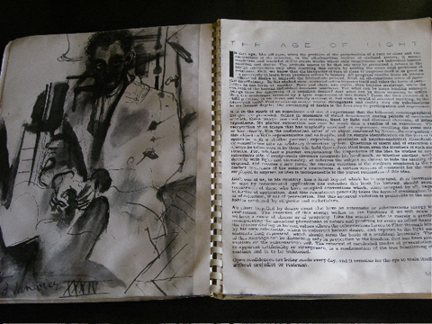 """The Age of Light"" opening essay with self-portrait in ink on left page."