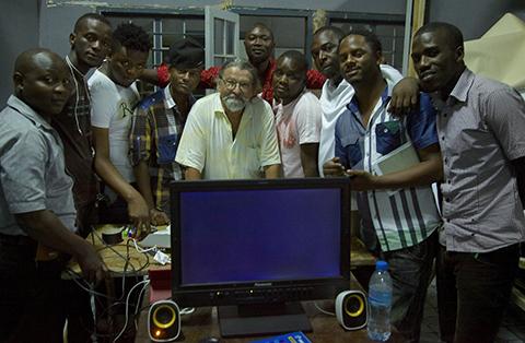 Garcia and his students in Dar es Salaam.