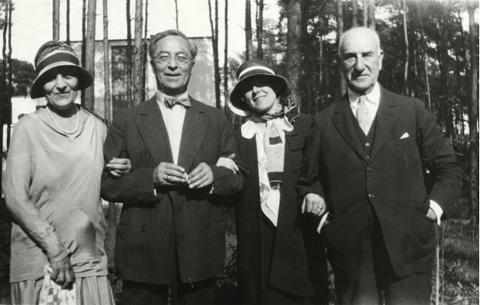 Left to right: Irene Guggenheim, Vasily Kandinsky, Hilla Rebay, Solomon R. Guggenheim in Dessau, Germany, 1930.