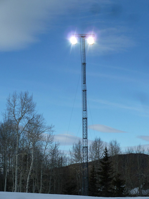 The remote locations necessitated the use of temporary towers often used in construction.