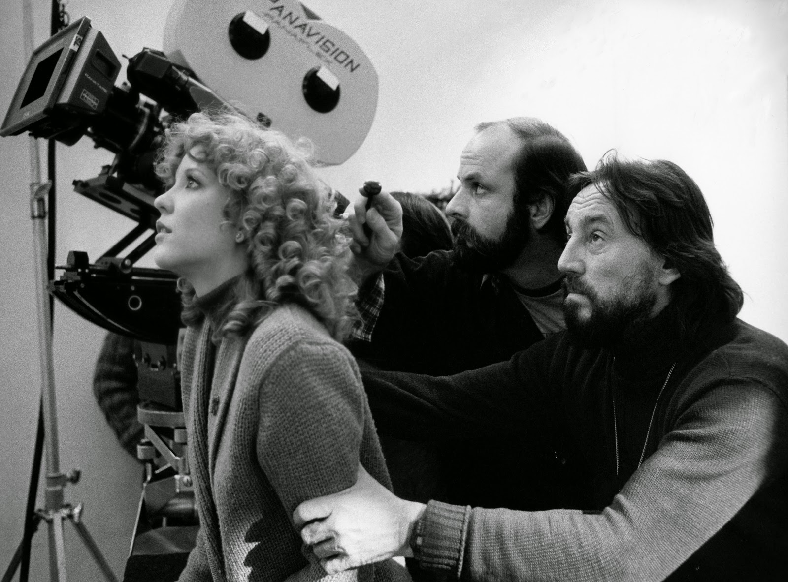 From left: Actress Nancy Allen, 1st AC Michael Gershman and Zsigmond on set for Blow Out.