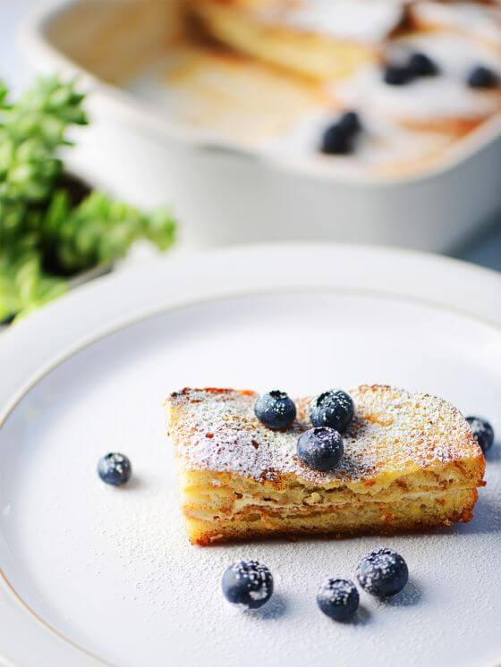 French Toast Casserole with Cream Cheese Filling and blueberries