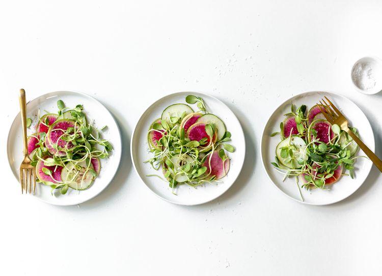 Watermelon Radish and Cucumber Sesame Salad