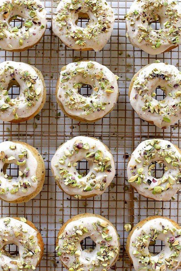 20 Brown Butter Baked Pistachio Doughnuts