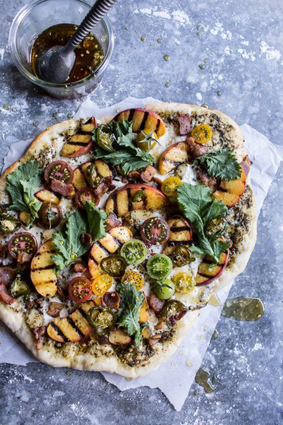 Blt And Grilled Peach Pizza With Jalapeno Honey Gorgonzola 8