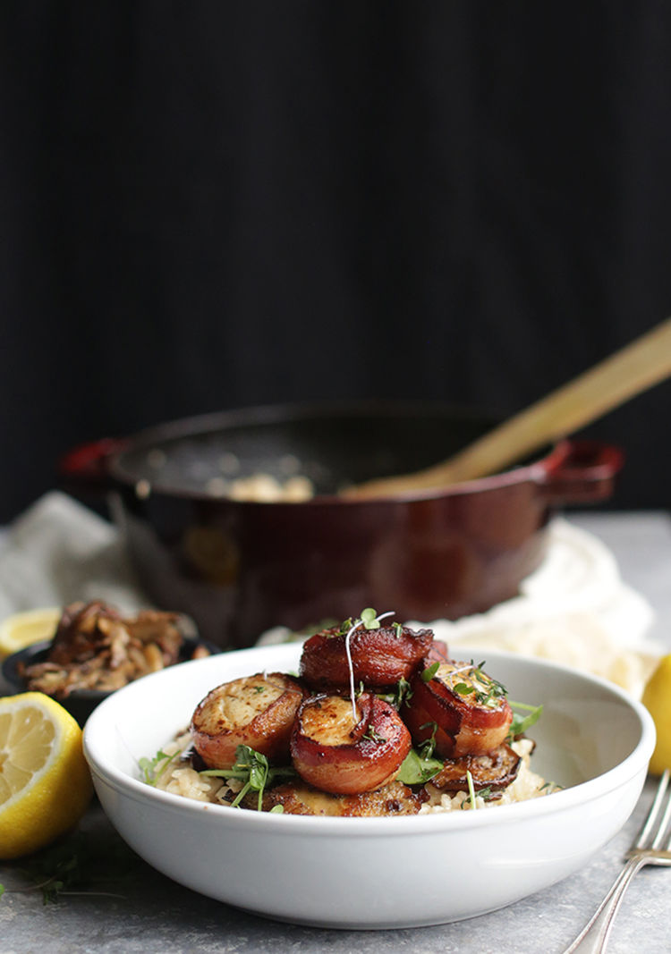 Bacon Wrapped Scallops And Risotto 8