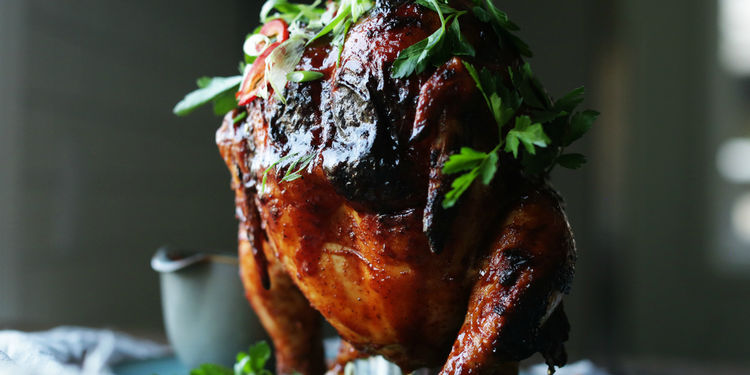Grilled BBQ Beer Can Chicken