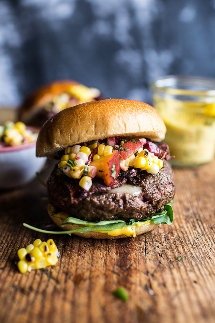 Brie-Stuffed-Burgers-with-Sweet-Chili-Mayo-Corn-Salsa-3