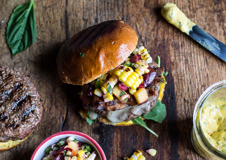 Brie Stuffed Burgers with Sweet Chili Mayo & Corn Salsa