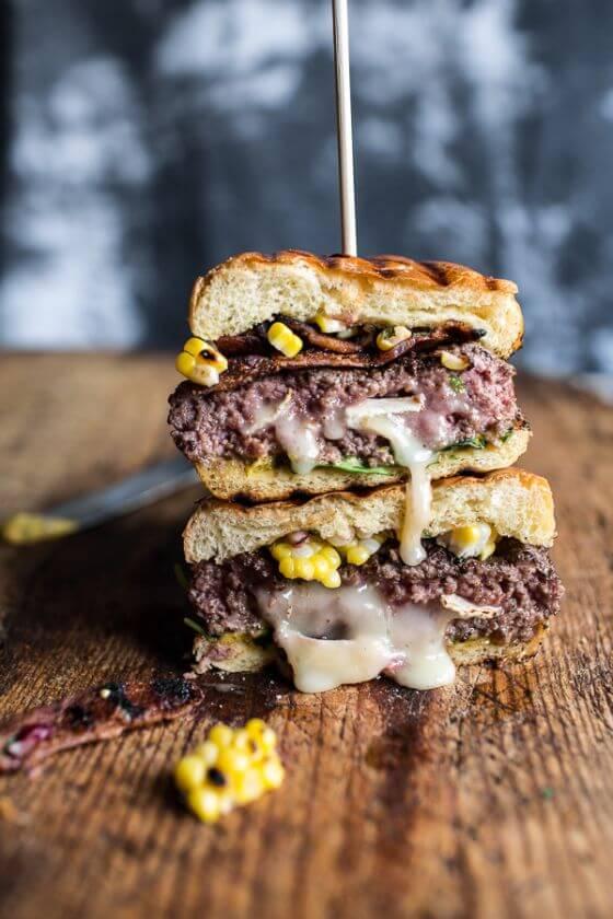 Brie-Stuffed-Burgers-with-Sweet-Chili-Mayo-Corn-Salsa-7