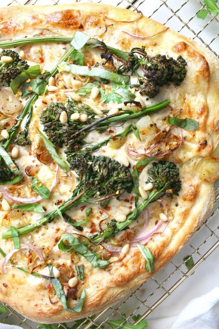 Broccolini Shallot Vegan White Pizza 2