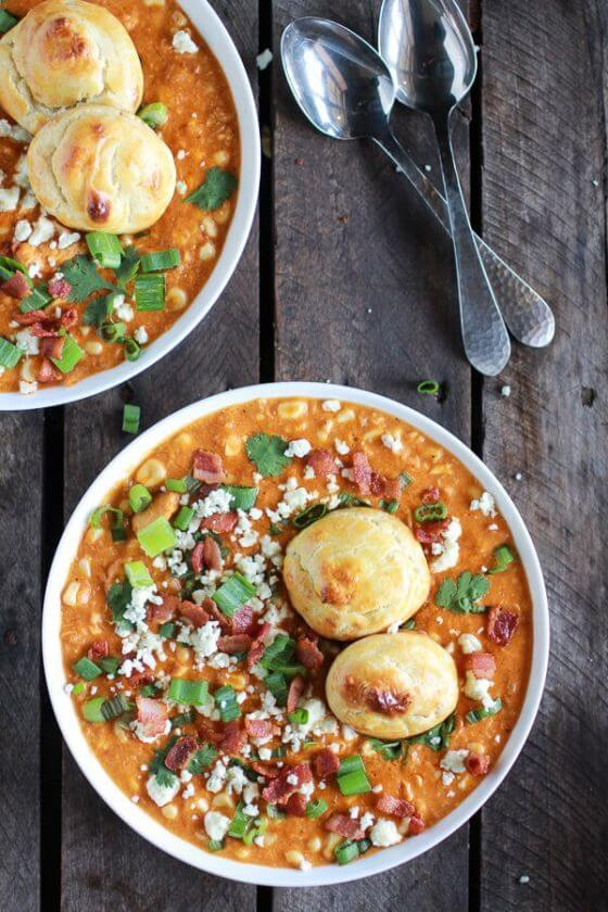 Buffalo Chicken Corn Chowder With Blue Cheese Gougères 1