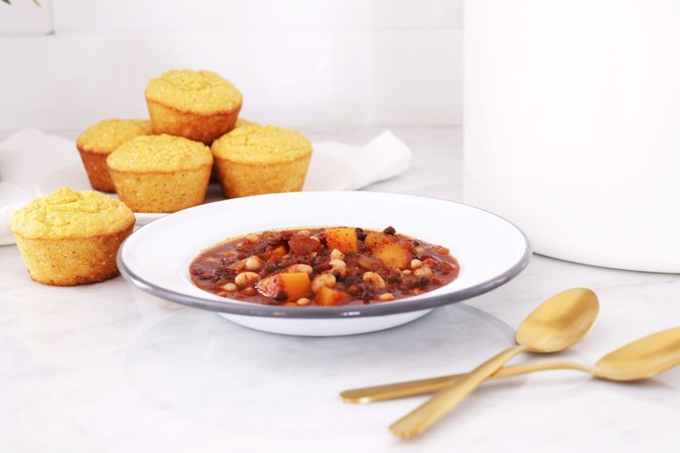 Butternut Squash Chili with Gluten-Free Cornbread