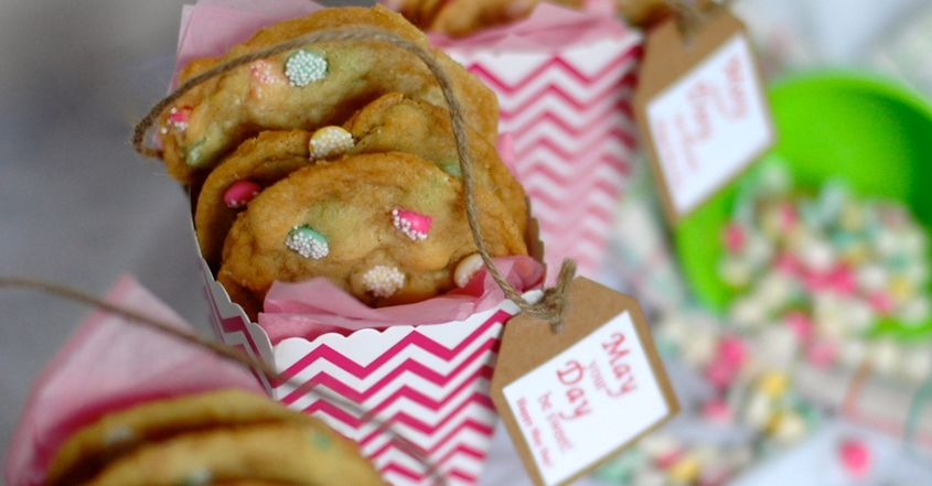 May Day Baskets with Vanilla Mint Drop Chip Cookies