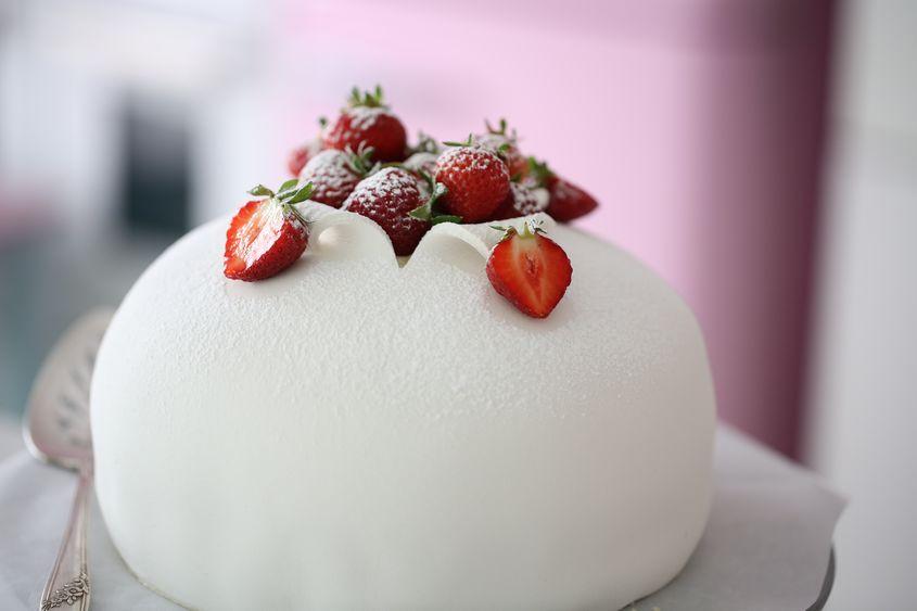 The most beautiful White Strawberry Swedish Princess Cake