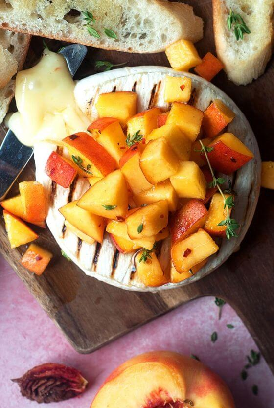 Grilled Brie With Honey Thyme Peaches