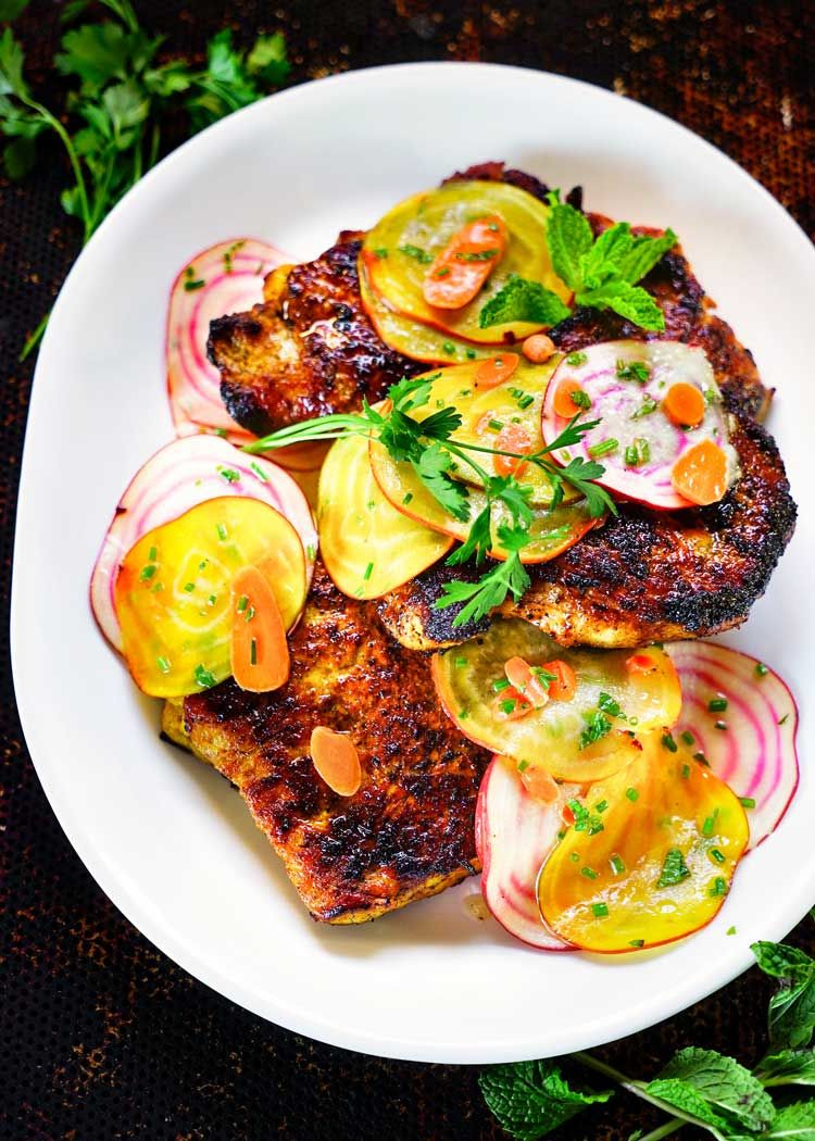 Honey Turmeric Pork Cutlets With Beet And Carrot Salad1 B