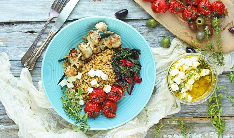 Mediterranean Sorghum Bowl with Chicken and Marinated Feta Cheese