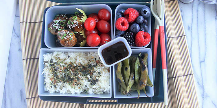 Teriyaki Meatballs Bento Box